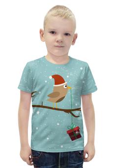 """Футболка с полной запечаткой для мальчиков """"Подарочек"""" - подарок, птичка, рождество, санта, merry christmas"""