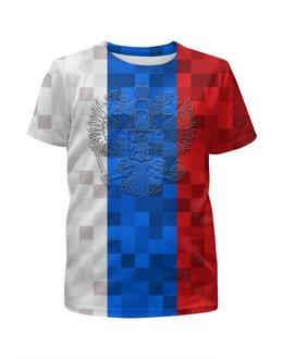 """Футболка с полной запечаткой для мальчиков """"РОССИЯ (футбол)"""" - футбол, россия, флаг, символика, сыну"""