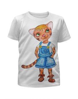 """Футболка с полной запечаткой для мальчиков """"Котенок"""" - кот, котенок, детская, рыжий"""