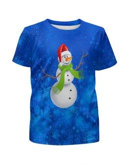 """Футболка с полной запечаткой для мальчиков """"Снеговик"""" - новый год, зима, снеговик, снежинки, праздник"""