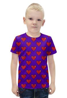 """Футболка с полной запечаткой для мальчиков """"Сердечки"""" - сердца, 14 февраля, сердечки, день влюбленных"""