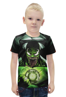 """Футболка с полной запечаткой для мальчиков """"Веном / Venom / Зеленый фанарь"""" - рисунок, зеленый фонарь, веном"""