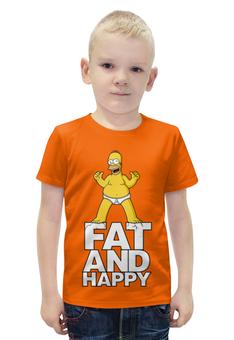 """Футболка с полной запечаткой для мальчиков """"Гомер Симпсон. Толстый и счастливый"""" - simpsons, прикольные, гомер симпсон, симпспоны, толстый и счастливый"""
