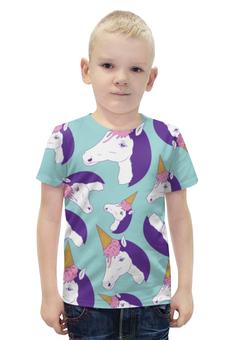 """Футболка с полной запечаткой для мальчиков """"Лошадь"""" - лошадь, пони, единорог, мороженое, ice cream"""