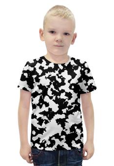 """Футболка с полной запечаткой для мальчиков """"Бело-Чёрный Камуфляж"""" - армия, камуфляж, camouflage, военный, бело чёрный камуфляж"""