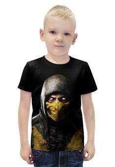 "Футболка с полной запечаткой для мальчиков ""Mortal kombat scorpion"" - скорпион, mortal kombat, mk, мортал комбат"
