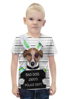 """Футболка с полной запечаткой для мальчиков """"Bad DOG"""" - пес, собака, арестован"""