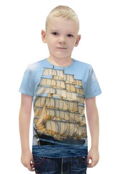 """Футболка с полной запечаткой для мальчиков """"Барк Крузенштерн"""" - крузенштерн, барк, учебное судно"""