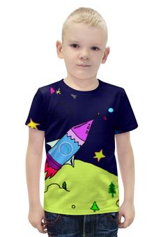 """Футболка с полной запечаткой для мальчиков """"ракета в космосе"""" - звезды, космос, дети, ракта"""