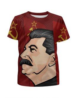 """Футболка с полной запечаткой для мальчиков """"Сталин"""" - ссср, поп-арт, россия, коммунизм, коммунист"""