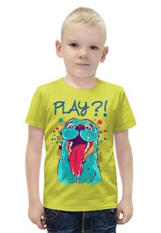 """Футболка с полной запечаткой для мальчиков """"Play?! """" - пародия"""