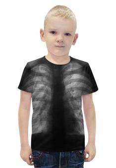 """Футболка с полной запечаткой для мальчиков """"Рентген """" - сердце, кости, чб, органы"""