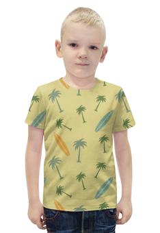 """Футболка с полной запечаткой для мальчиков """"Гавайка"""" - пальма, море, отдых, пляж, серфинг"""