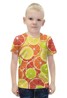 """Футболка с полной запечаткой для мальчиков """"Цитрусы"""" - апельсин, лайм, лимон, грейпфрут, дольки"""