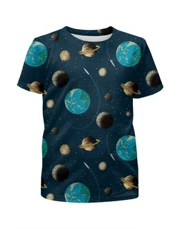 """Футболка с полной запечаткой для мальчиков """"Космос """" - вселенная, планеты"""