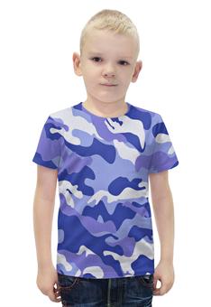 """Футболка с полной запечаткой для мальчиков """"Сине-Белый Камуфляж"""" - армия, камуфляж, camouflage, военный, сине белый камуфляж"""