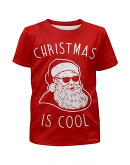"""Футболка с полной запечаткой для мальчиков """"Крутой Дед Мороз"""" - новый год, рождество, дед мороз, санта клаус, новогодняя"""