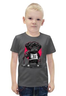 """Футболка с полной запечаткой для мальчиков """"Black Dog """" - пародия, собачка, караоке"""