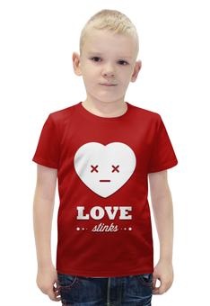 """Футболка с полной запечаткой для мальчиков """"Love stinks"""" - любовь, 14 февраля, день влюбленных, love stinks"""