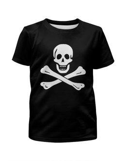 """Футболка с полной запечаткой для мальчиков """"""""Весёлый Роджер - Jolly Roger"""""""" - череп, пираты, jolly roger, пиратский флаг, весёлый роджер"""
