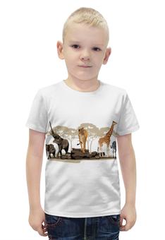 """Футболка с полной запечаткой для мальчиков """"Сафари"""" - пустыня, слоны, жирафы"""