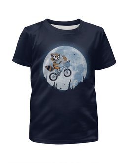 """Футболка с полной запечаткой для мальчиков """"Енотик на луне"""" - фэнтези, юмор"""