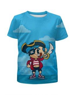 """Футболка с полной запечаткой для мальчиков """"Модный пиратик"""" - пираты, юмор, черепа"""