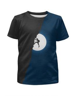 """Футболка с полной запечаткой для мальчиков """"Скалолаз"""" - скалолаз, минимализм, луна, ночь"""