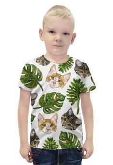 """Футболка с полной запечаткой для мальчиков """"Психоделических принт с кошками"""" - арт, животные, листья, кошки, котята"""