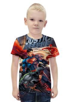 """Футболка с полной запечаткой для мальчиков """"Лига Правосудия (Justice League)"""" - супермен, молния, бэтмен, зеленый фонарь, лига правосудия"""