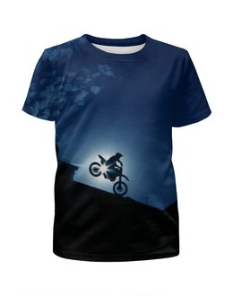 """Футболка с полной запечаткой для мальчиков """"Мотоцикл"""" - спорт, мотоцикл, байкер, байк, мотоциклист"""