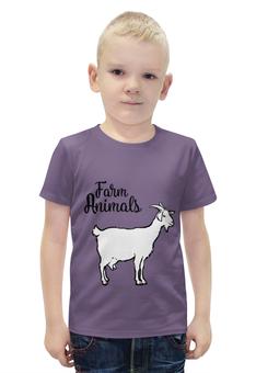 """Футболка с полной запечаткой для мальчиков """"farm animals"""" - animals, рога, козел, копыта, farm"""