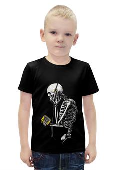 """Футболка с полной запечаткой для мальчиков """"Скелетон меломан"""" - скелет"""