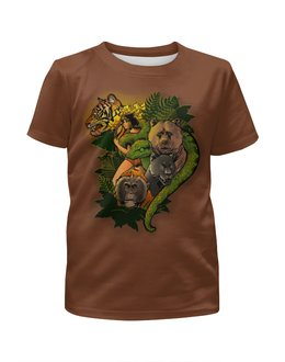 """Футболка с полной запечаткой для мальчиков """"Однажды в джунглях """" - мультик, медведь, тигр, сказка, маугли"""