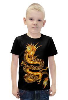 """Футболка с полной запечаткой для мальчиков """"Золотой дракон"""" - золото, дракон, фантастика, фэнтэзи"""