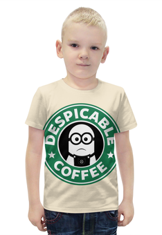 """Футболка с полной запечаткой для мальчиков """"Starbucks / Despicable coffee"""" - кофе, coffee, миньоны, starbucks, старбакс"""