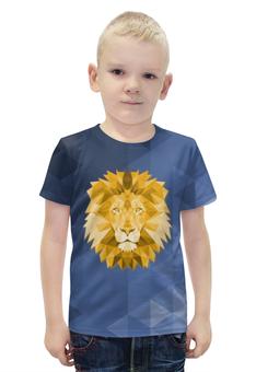 """Футболка с полной запечаткой для мальчиков """"Полигональный Лев"""" - лев, синий, полигоны"""