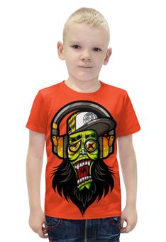"""Футболка с полной запечаткой для мальчиков """"Зомби меломан"""" - музыка, череп, zombie, зомби, наушники"""