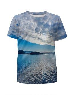 """Футболка с полной запечаткой для мальчиков """"Остров в море"""" - море, облака, природа, пейзаж, остров"""