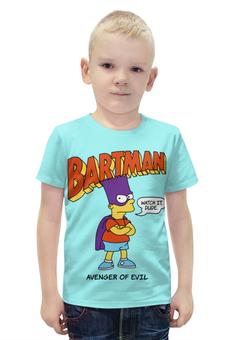 """Футболка с полной запечаткой для мальчиков """"Бартмен"""" - прикольные, супергерои, симпсоны, барт симпсон, бартмен"""