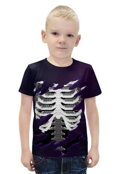 """Футболка с полной запечаткой для мальчиков """"Скелет """" - ребра, позвонки"""