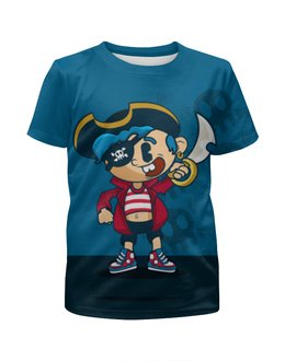 """Футболка с полной запечаткой для мальчиков """"Модный пиратик"""" - фэнтези, юмор, пираты, черепа"""