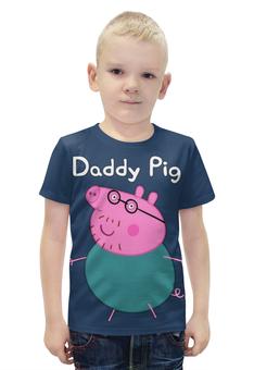 """Футболка с полной запечаткой для мальчиков """"Daddy Pig """" - свинка, дадди"""