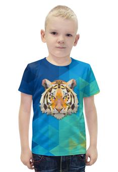 """Футболка с полной запечаткой для мальчиков """"Полигональный тигр"""" - тигр, полигоны"""
