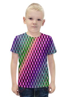 """Футболка с полной запечаткой для мальчиков """"Градиент"""" - графика, краски, геометрия, градиент, шестиугольник"""