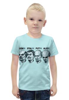 """Футболка с полной запечаткой для мальчиков """"Политическая карикатура"""" - пародия, ленин, путин, сталин"""