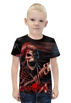 """Футболка с полной запечаткой для мальчиков """"Death Metal (Смерть)"""" - смерть, death metal, ужасы, мистика, металл"""