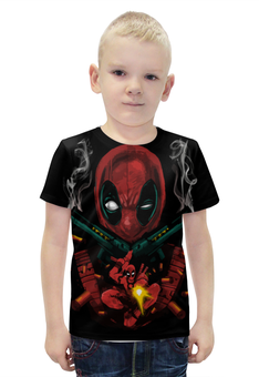 """Футболка с полной запечаткой для мальчиков """"Deadpool Guns"""" - комиксы, marvel, марвел, убийца, дэдпул"""