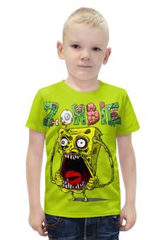 """Футболка с полной запечаткой для мальчиков """"Zombie """" - страшилка"""