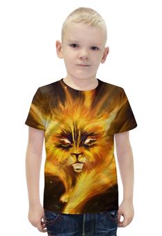 """Футболка с полной запечаткой для мальчиков """"огненный кот"""" - кот, огонь, котик"""